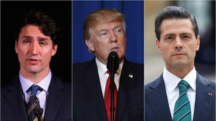El primer ministro de Canadá, Justin Trudeau, el presidente de EEUU, Donald Trump y el mandatario mexicano, Enrique Peña Nieto