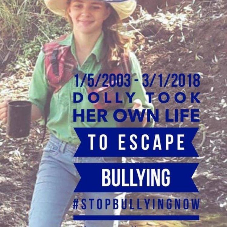 """Uno de los flyers que circularon en las redes sociales en Australia: """"Dolly se suicidó para escapar del bullying #DETENGANEL BULLYINGAHORA"""""""