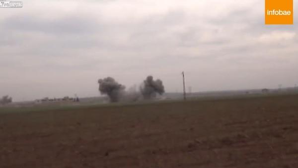 Despacho de periodista es interrumpido por la caída de bombas — Siria