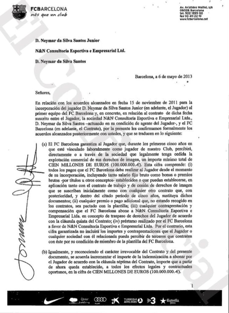 El contrato en el que el Barcelona se compromete a pagarle 100 millones de euros a Neymar (El Confidencial)