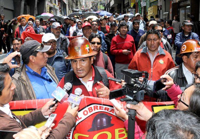 Guido Mitma, máximo ejecutivo de la Central Obrera Boliviana.