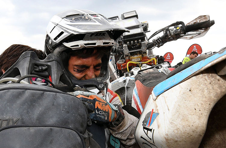 El motociclista argentino de KTM, Juan Rojo, en la última etapa del Rally Dakar 2018. Foto: AFP