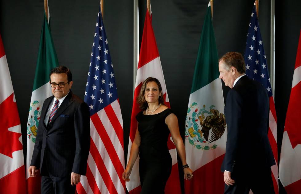 Los ministros de México, Canadá y EE UU a cargo de la negociación, en el último encuentro tripartito.