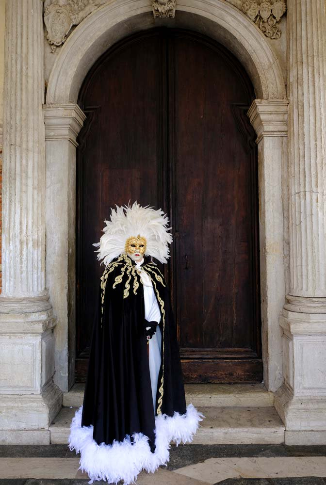 A masked reveller poses during the Carnival in Venice, Italy January 28, 2018. REUTERS/Manuel Silvestri