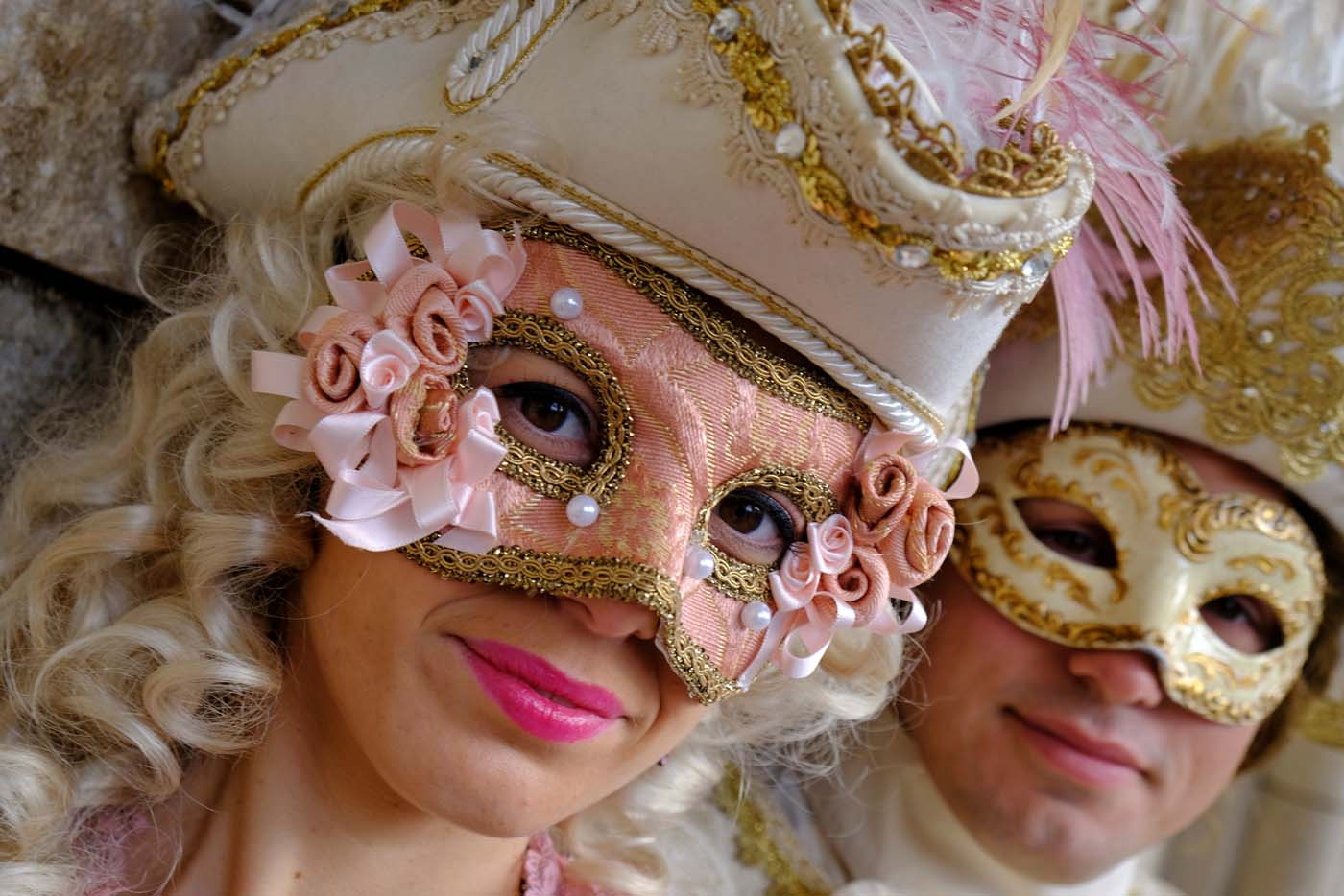 Masked revellers pose during the Carnival in Venice, Italy January 28, 2018. REUTERS/Manuel Silvestri