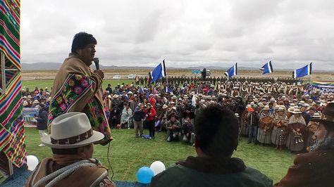 El presidente Evo Morales en Turco, Oruro. Foto:Ministerio de Comunicación