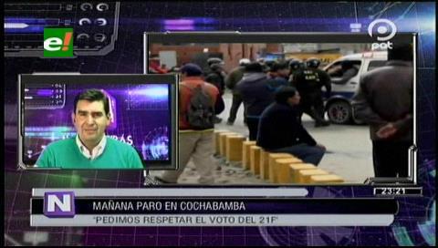 Alcaldía de Cochabamba respalda paro cívico