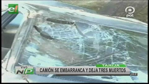 Tarija: Camión se embarranca en Bermejo, hay 3 muertos