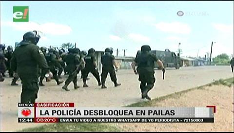 La Policía usó la fuerza para desbloquear Pailas