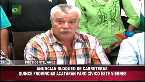 Cívicos de las 15 provincias cruceñas acatarán el paro del viernes