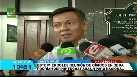Cívicos de Santa Cruz propondrán paro nacional
