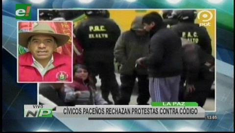 Cívicos paceños rechazan protestas contra el Código Penal