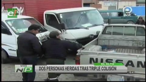 El Alto: Triple colisión deja a 2 personas heridas
