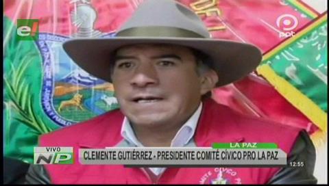 Cívicos de La Paz no acatarán paro nacional y apoyan la repostulación de Morales