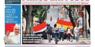 Portadas de periódicos de Bolivia del sábado 20 de enero de 2018