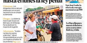 Portadas de periódicos de Bolivia del jueves 18 de enero de 2018