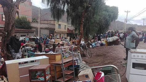 Desborde del río Tupiza en el municipio del mismo nombre dejó varias familias afectadas. Foto: APG