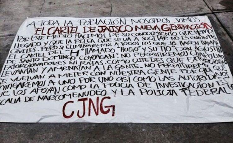 La narcomanta que apareció ayer en Ciudad de México y puso en alerta a las autoridades