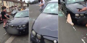 El feroz ataque de un grupo de rumanos contra un auto mal estacionado en Londres