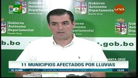 Gobernación: Once municipios afectados por las intensas lluvias en Santa Cruz