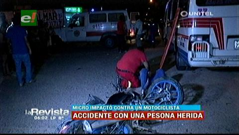 Motociclista resultó herido tras ser impactado por un micro
