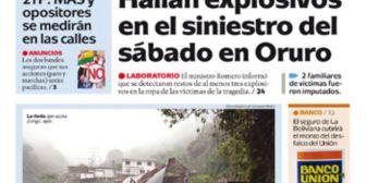 Portadas de periódicos de Bolivia del sábado 17 de febrero de 2018