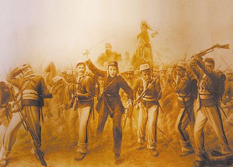 HISTORIA. Un cuadro referido a la Batalla del Alto de la Alianza, 1880, del Museo del Litoral en La Paz.