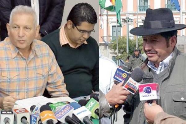 AUTORIDADES. El gobernador de Santa Cruz, Rubén Costas, y el gobernador de Chuquisaca, Esteban Urquizu.