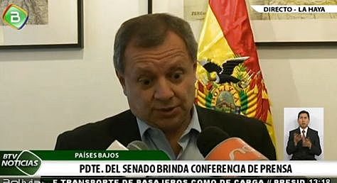 El presidente del Senado, José Alberto Gonzales, desde La Haya.