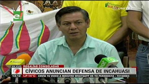 Cívicos cruceños anuncian defensa de las regalías por el Incahuasi