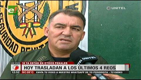 Trasladarán a otros cuatro reos a penales de Tarija y Cochabamba