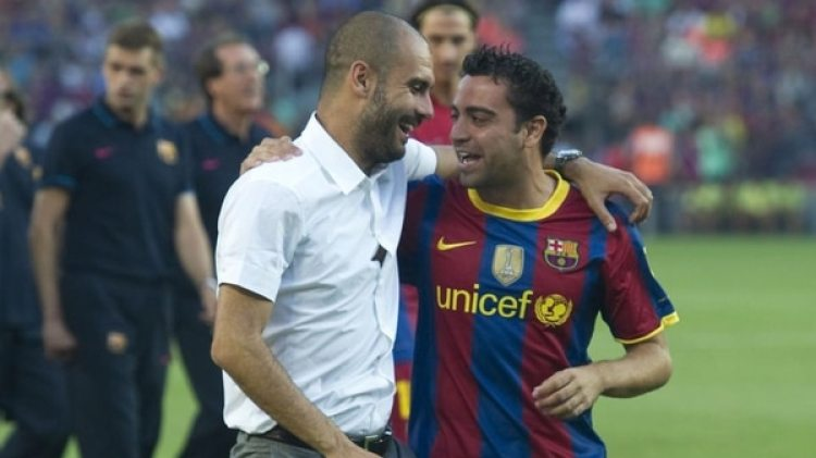 Guardiola y Xavi en el Barcelona