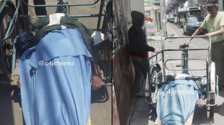 Margarito tuvo que trasladar a su esposa en bicicleta porque nadie le prestó ayuda. (Twitter de @c4jimenez)
