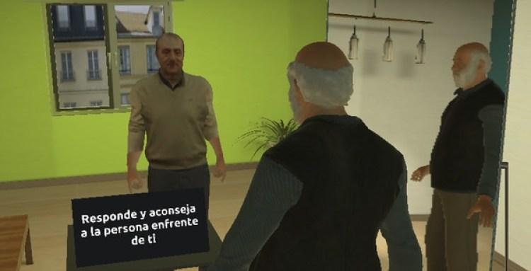 Uno de los programas de realidad virtual desarrollados en Virtual Bodyworks. (melslater.me)