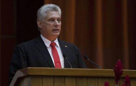 Miguel Díaz-Canel brinda su primer discurso como presidente de Cuba. Foto: Redes Sociales