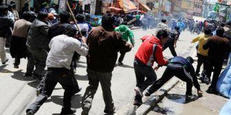 Enfrentamiento entre choferes por rutas en la ciudad de La Paz deja 8 heridos y 2 detenidos