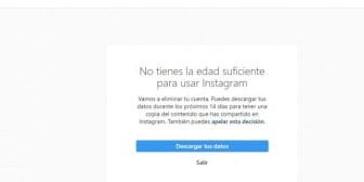 Cuenta cancelada en Instagram para menores de 14 años