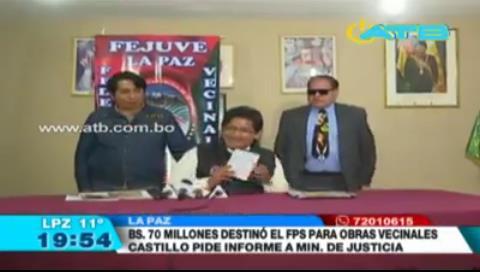 La Paz: Piden que Fejuve de Jesús Vera brinde informe del uso de Bs 70 millones para obras