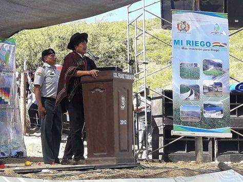 El presidente Evo Morales en el acto en Chuquisaca.
