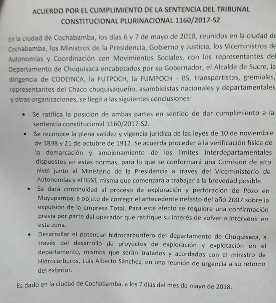 Preacuerdo para la solución del conflicto por la distribución de las regalías del campo gasífero Incahuasi