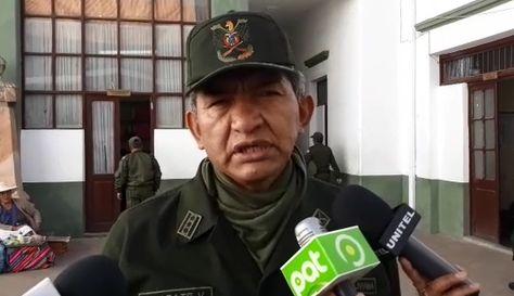El subcomandante departamental de la Policía en Chuquisaca, Freddy Zárate.