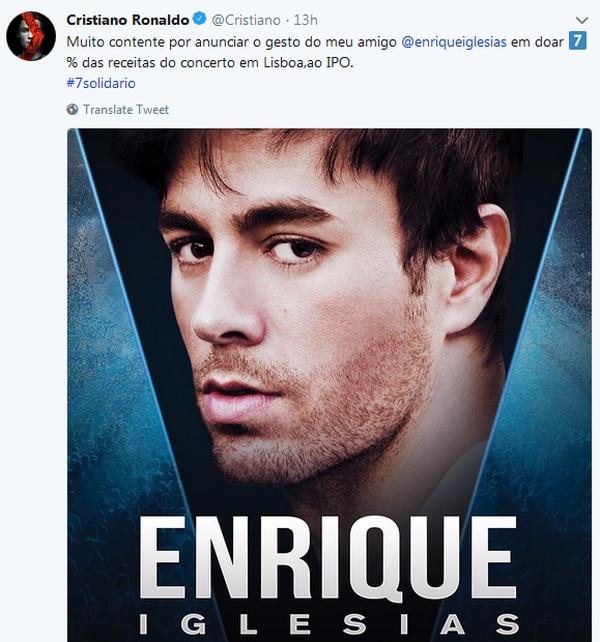 Enrique Iglesias realizará concierto en beneficio de causa sociales