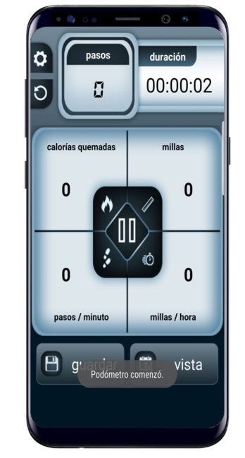 Interfaz Steps Count Calorie Pedometer