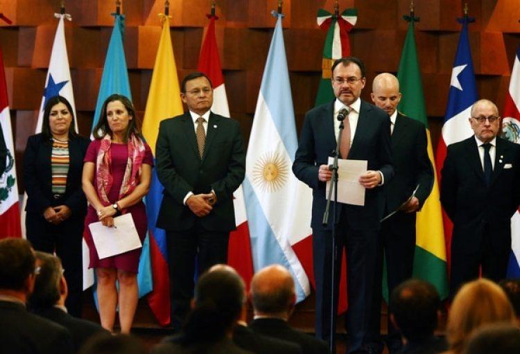 El canciller mexicano, Luis Videgaray, en conferencia de prensa junto a sus pares del bloque regional (Reuters)