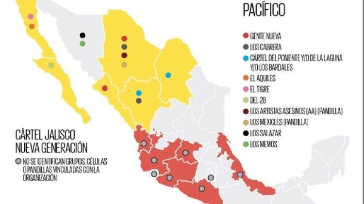 La geografía de los grupos que operan bajo el mando del Cártel de Sinaloa.