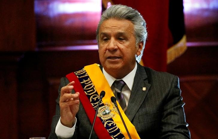 El presidente de Ecuador, Lenín Moreno, dando un discurso frente a la Asamblea Nacional en Quito, mayo 24, 2018. REUTERS/Daniel Tapia