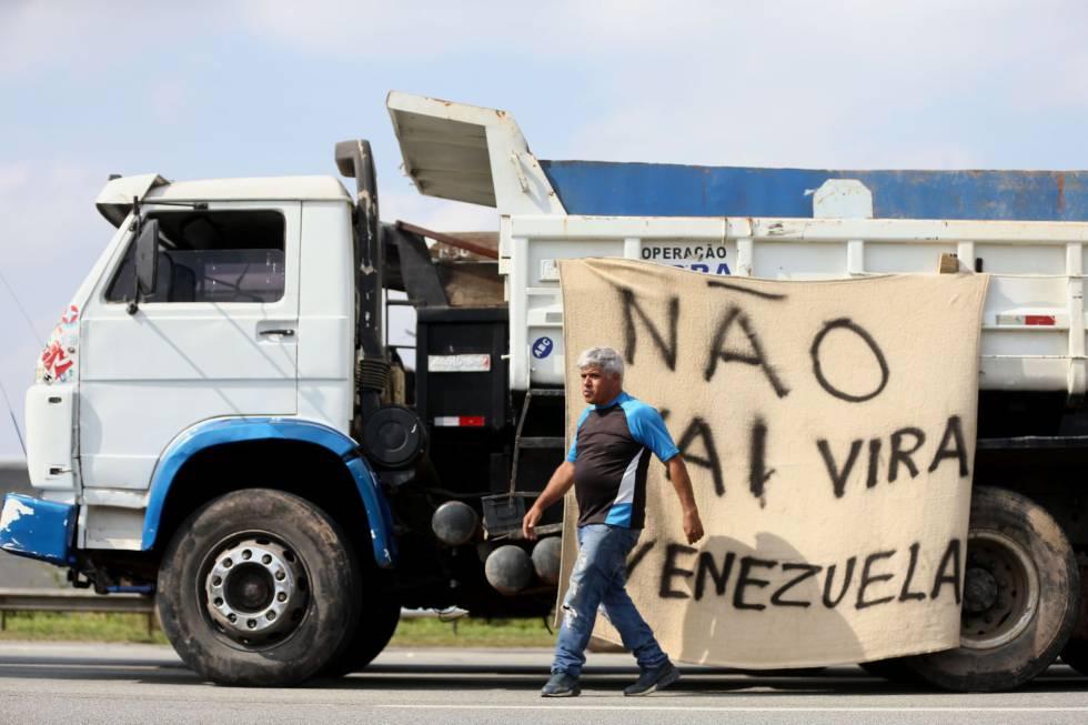 El paro de los camioneros en Sao Paulo, Brasil.
