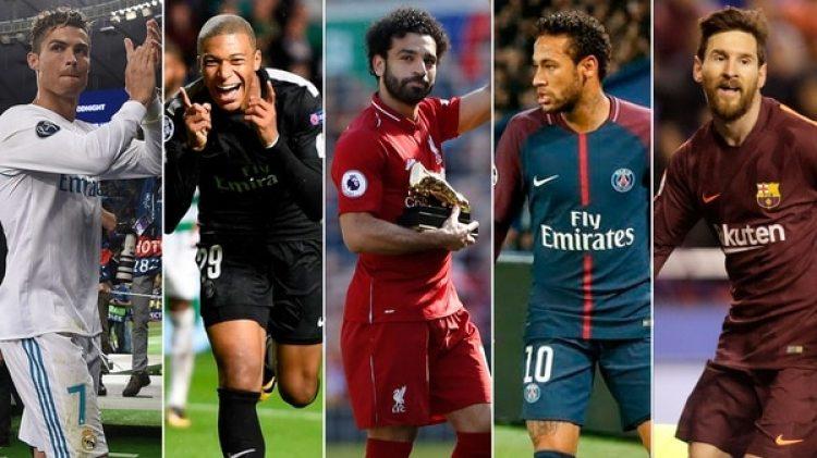 Cristiano Ronaldo, Kyllian Mbappe, Mohamed Salah, Neymar y Lionel Messi