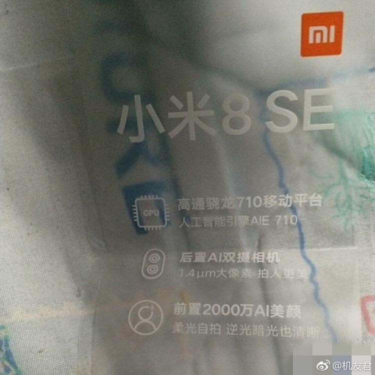 Foto difundiendo algunas de las características del Xiaomi Mi 8 SE