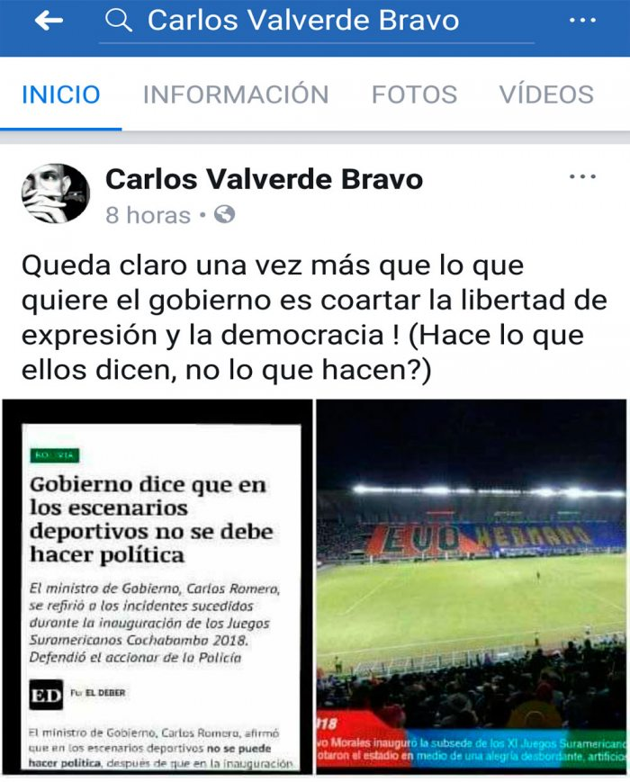 EL PERIODISTA CARLOS VALVERDE PROTESTÓ EN SU CUENTA DE FACEBOOK.